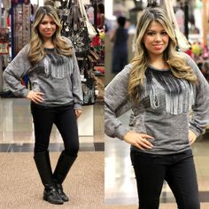 Trendy Winter Fashion Ombre Fringe Fashion Sweater Top in Charcoal Gray - Andreas Boutique #ootd #ootn #blog