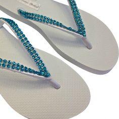 5300999a06f0 Rhinestone Flip Flops - Bridal Flip Flops -Turquoise Flip Flops -  Bridesmaid Flip flops - Beach Wedding Flip Flops - Wedding Sandals -
