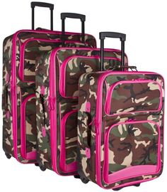 Ever Moda Pink Green Camo 3 Piece Expandable Luggage Set ** This is an Amazon Affiliate link. Check this awesome product by going to the link at the image. Best Luggage, Luggage Sets, Travel Luggage, Old Suitcases, Storage Solutions, Pink And Green, Camo, Travel Things, Vacation Ideas