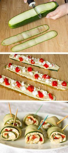 Mediterranean Cucumber Roll Ups Cucumber, hummus, roasted red pepper, feta.