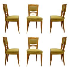 Set of Six French Art Deco Dining Chairs by Batistin Spade 1