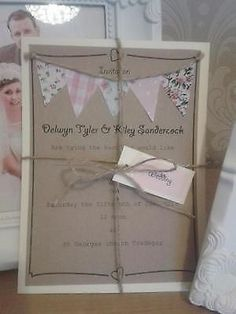 HANDMADE VINTAGE WEDDING INVITATIONS Bunting villiage fete 10pk