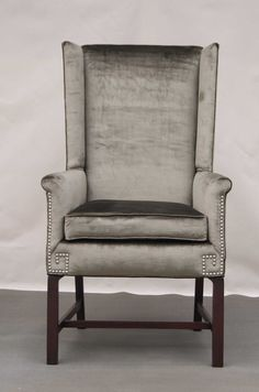 Reserved for Bubsters  Silver/Grey Velour Wingback by CCDeuxVie-Dining Room Chair
