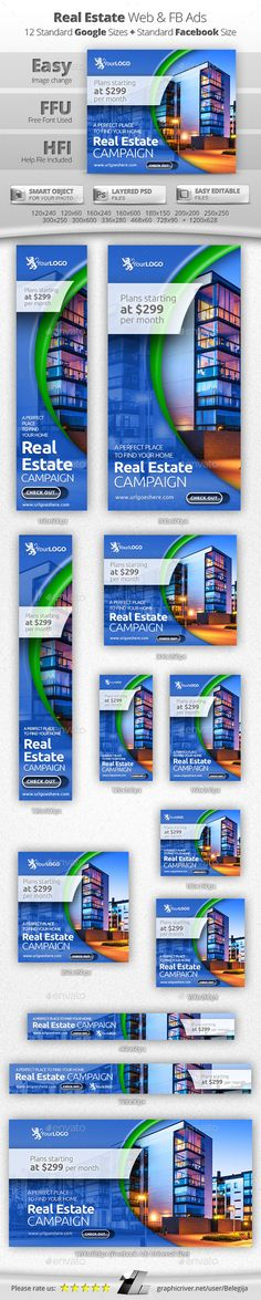 Banners & Ad Templates from GraphicRiver Real Estate Banner, Real Estate Logo, Selling Real Estate, Facebook Banner, Web Banner Design, Web Banners, Display Ads, Web Design Trends, Brochures