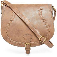 T-Shirt & Jeans Crossbody Bag (525 MXN) ❤ liked on Polyvore featuring bags, handbags, shoulder bags, saddle bags, beige shoulder bag, zipper purse, beige purse and zipper handbag