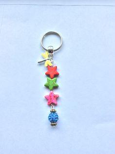 Rainbow Howlite stars bag/key charm