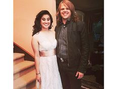 These 2 are so cute, but look at the little dog peeping behind Caleb's left wrist.  American Idol Winner Caleb Johnson Escorts Runner-Up Jena Irene Asciutto to Her Prom