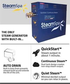 Free Shipping - SteamSpa QuickStart 4.5 KW Acu-Steam Bath Generator D-450 – BathCollective.com Steam Sauna, Steam Bath, Steam Room, Wall Mount Electric Fireplace, Steam Generator, Old Fireplace, Tank Design, Steam Showers, Living Room Remodel