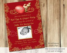 Red Egg & Ginger Party Invitation - Style 2 - Photo invitation - Baby Girl or Boy - birth announcement - Red  Golden Tones - PRINTABLE