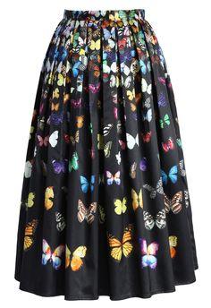 Dreamy Butterfly Pleated Midi Skirt in Black