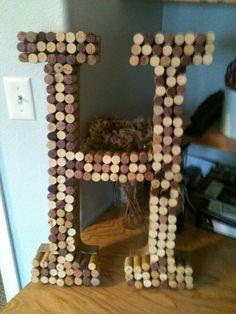 Wedding: Wine cork letter 'H'
