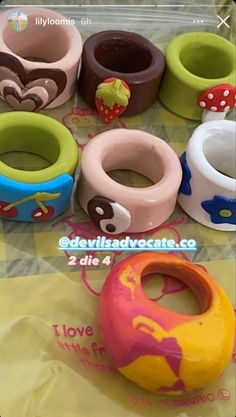 Fimo Ring, Polymer Clay Ring, Clay Art Projects, Clay Crafts, Funky Jewelry, Cute Jewelry, Diy Clay Rings, Keramik Design, Clay Creations