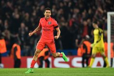 Marquinhos of PSG celebrates following his team's victory during the UEFA Champions League round of 16 second leg match between Chelsea and Paris Saint-Germain at Stamford Bridge on March 11, 2015 in London, England.