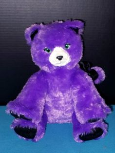 d98a68f60e4 Build A Bear Purple Sparkle Cat Kooky Spooky w Bow 12 Sitting Toy Plush