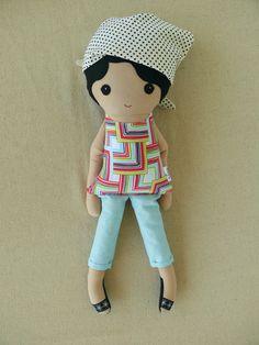 Fabric Doll Rag Doll Black Haired Girl in Polka by rovingovine