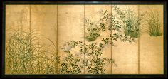 Autumn Grasses.  Period: Edo period (1615–1868). Date: first half of the 17th century. Culture: Japan. Medium: Pair of six-panel folding screens; ink and color on gilt paper. Best view: http://images.metmuseum.org/CRDImages/as/original/DT1592_CRD.jpg