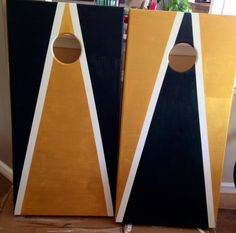 Gold and Green Hand Painted Cornhole Boards by Coastal Calligraphy and Art Design