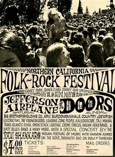 Northern California Folk-Rock Festival - on the day I was born (May Sound Of Music, Kinds Of Music, I Love Music, Tour Posters, Band Posters, Music Posters, Theatre Posters, Event Posters, Wes Wilson