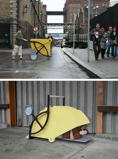 This Shelter Cart by Gregor Timlin. The aim of the project was to design a tool for a particular group of homeless people who collect bottles from the streets so they can collect a small income from the recycling plants in order to sustain themselves. The project was not seen a solution to the social problem of the homeless but instead as an method of raising awareness about the issue. Great project! It also provide a place that the homeless people can sleep or seat in this cart. - quoted…
