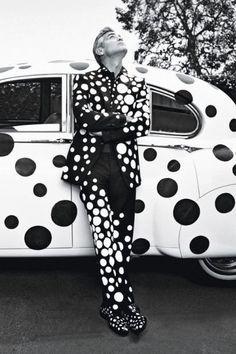 Image of George Clooney by Yayoi Kusama for W Magazine