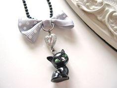 Black  cat Necklace  kawaii cute lolita by DinaFragola on Etsy