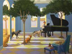 """artline, art, artist, Kathryn Freeman at Kathryn Freeman, *click image to enlarge<br /> <em>Blues for dogs</em>, 2016<br /> oil on linen, 36 x 48"""""""