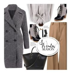 Work Wear by beebeely-look on Polyvore featuring Maison Mihara Yasuhiro, Bobbi Brown Cosmetics, WorkWear, coat, sammydress, officestyle and winterboots
