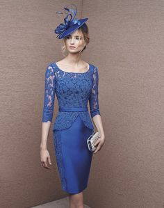 Cache Couture Atelier Evening Dresses - blue lace peplum pencil skirt dress
