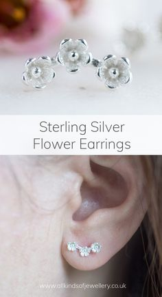 Pretty flower earrings made in sterling silver 9ct Gold Earrings, Flower Earrings, Stud Earrings, Buy Jewellery Online, Jewelry Website, Sterling Silver Flowers, Special Gifts, Pretty, Studs