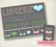 Vintage Typography Poster Style - Lingerie Shower and Matching Sizes Card PRINTABLE Invitations. $13.50, via Etsy.