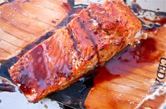 Pomegranate-Orange Glazed Cedar Salmon