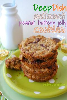 Deep Dish Oatmeal Peanut Butter & Jelly Cookies! A fun twist on the PBJ!!