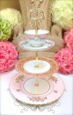 Pink Tea Time China Cake Tier  3 Tier Cake by HelensRoyalTeaHouse, $145.00