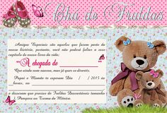 Convites Chá de Bebe - Meninas Teddy Bear, Stickers, Toys, Free, Diaper Invitations, Baby Boy Shower, Virtual Baby Shower, Girl Shower, Sunday Humor