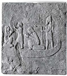 Relief: Assyrian soldier conducting captives across the water Period: Neo-Assyrian Date: ca. 668–627 B.C. Geography: Mesopotamia,Niniveh Assyrian