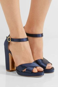 Heel measures approximately 110mm/ 4.5 inches Navy satin  Buckle-fastening ankle strap Designer color: Moroccan Blue  Made in Italy