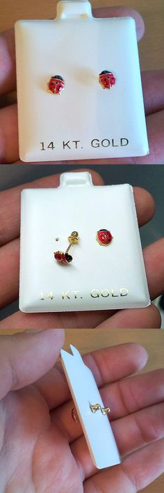 Earrings 98476 14k Yellow Gold Red And Black Enamel Lady Bug Baby Back It Now Only 38 99 On Ebay Pinterest