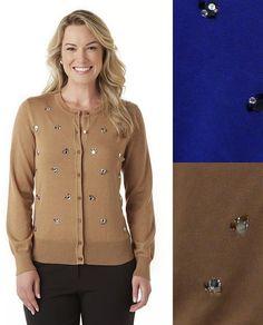 Covington Womens Cardigan Sweater Embellished Long Sleeves Sizes S M L Xl