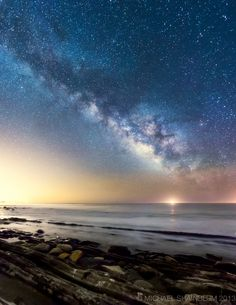 A very bright Milky Way on the beach in Gaviota CA by Photographer Michael Shainblum