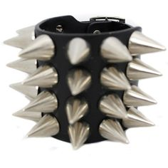 Leather 4 Row Spiked Bracelet punk rock GOTH ($25) ❤ liked on Polyvore featuring jewelry, bracelets, spike bangle, goth jewelry, leather bangle, spike jewelry and punk jewelry