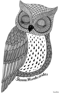Whimsical owl drawing   Tove Lisa: Illustration - I'm With Friends