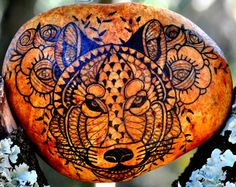 Hand - Black Wolf and flowers painted Pebble / Hand painted pebble - Black wolf and flowers