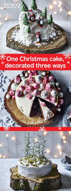 Create a gorgeous Christmas cake with these three easy decoration ideas. Using a ready-made Christmas cake as the base, choose from cute skiing penguins, pretty meringue kisses or an elegant snowy forest for your Christmas cake showstopper. | Tesco