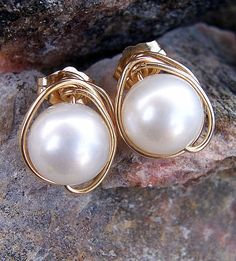 Pearl and gold wire wrapped stud earrings wedding by starrydreams, $45.00