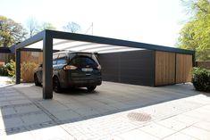 Carport Designs, Garage Design, House Design, Carport Garage, Garage Doors, Carport Modern, Garages, Mid Century Exterior, Outdoor Rooms
