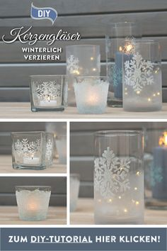DIY: make winter sparkling candle glasses yourself - Christmas Pictures Rose Gold Christmas Decorations, Christmas Art, Ribbon Organization, Memorial Day Sales, Girl Baby Shower Decorations, Lantern Candle Holders, Diy Décoration, Glass Vase, Creations