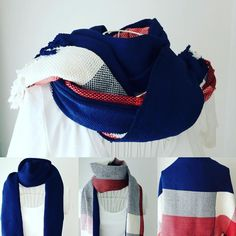 Handwoven scarf with Tricolor color. Available to enjoy with several colors depending on wearing it:). Thanks for purchasing. #handwoven #handwovenscarf #Tricolor #手織りストール #手織りマフラー #トリコロール #iichi #minne #creema #punkoi