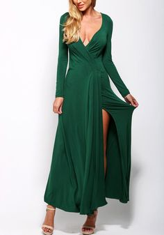 Make the mood more romantic by wearing this emerald green front slit maxi dress as you treat your man to a candle-lit dinner.