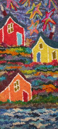 Newfoundland houses and fancy stars.  One of my originals.