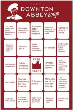 Free, printable Downton Abbey Bingo Cards - makes watching even more fun!